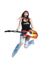 Beautiful rock-n-roll girl jump with guitar