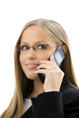 Businesswoman calling on mobile phone