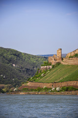 old castle on the escarpment above the river