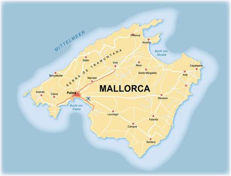 Karte von Mallorca (Spanien) mit Straßen, Autobahnen und Orten