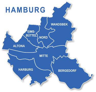 Karte Hamburg, Bezirke, Umriss