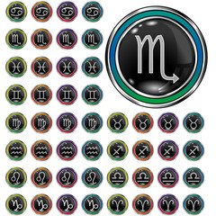 Psychedelic astrology zodiac icons on round vector web buttons
