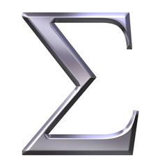 3D Silver Greek Letter Sigma