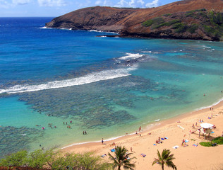 Snorkeling and Sunbathing at Hanauma Bay, Oahu, Hawaii