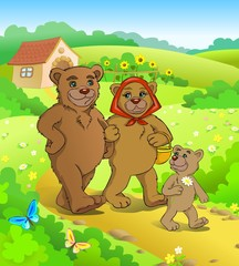 Fairy tale. Three bears walking home.