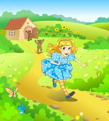 Fairy tale. Little girl run away from angry bears.