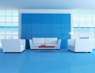 blue modern living room-rendering