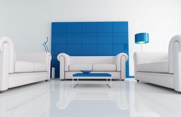 modern white and blue living room -rendering
