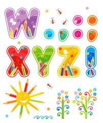 Abc set letters W - Z, marks of punctuation, design elements
