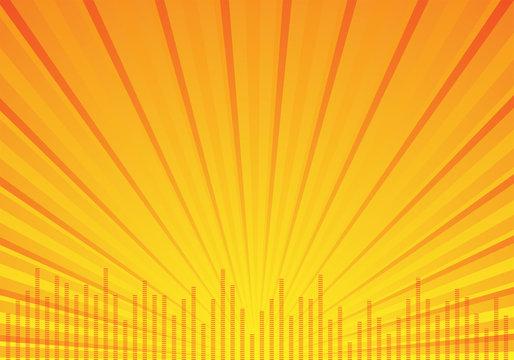 orange music background with rays