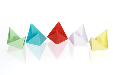Colourful Paper Boats Isolated On White