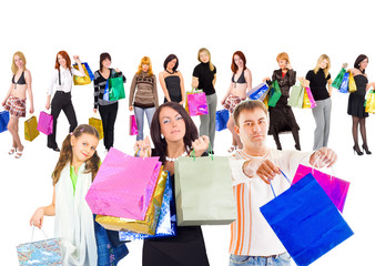Family shopping isolated over white