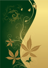 The butterfly on a gold background