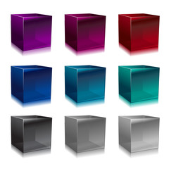 glass cubes in different colors