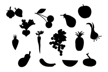 Set of vector fruit and vegetable silhouette
