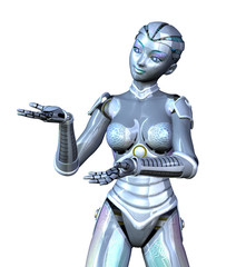Female Robot Presenting Your Product
