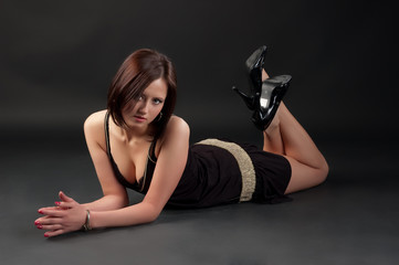 young woman on the floor
