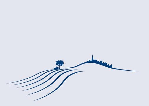 Vektor Agrar Landschaft mit feldern, Hügeln und Dorf