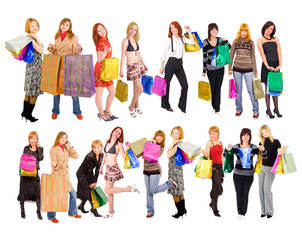 Shopping girls with bags isolated over white