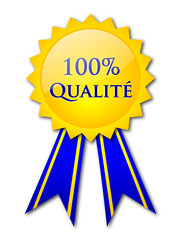 """100% Qualité"" badge (French)"