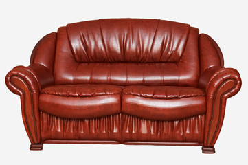 New leather divan isolated on white