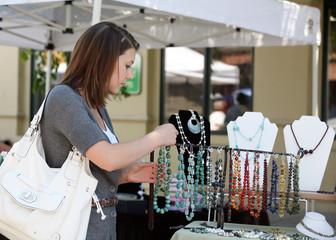 Girl buying jewelry