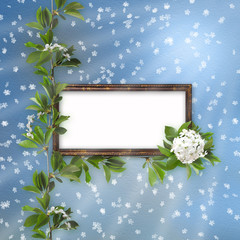 Blue abstract background with frame and  beautiful bouquet