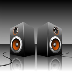 Illustration for musical theme with loudspeakers.
