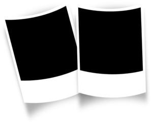 2 cadres photos polaroïd à courbure négative