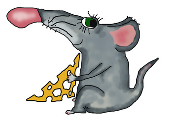 mouse with the piece of cheese