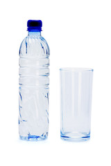 Bottle of mineral water and empty glass