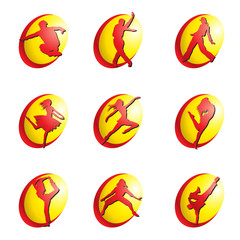 Vector set of dance web icons