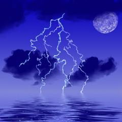 Lightning at dusk on water