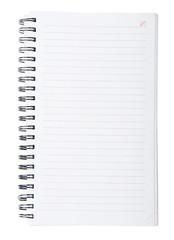 Open spiral lined notebook