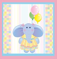 Card, funny elephant.