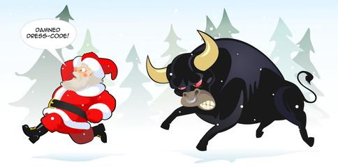 Santa claus and bull