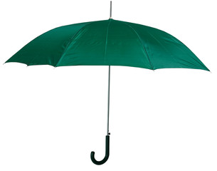 Opened green umbrella isolated on white