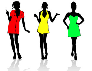 Three colourful party girls