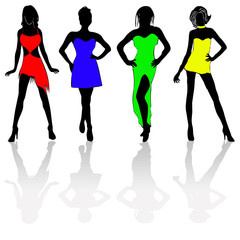 Four colourful girls
