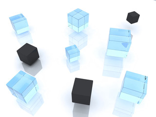 many abstract black and glass cubes