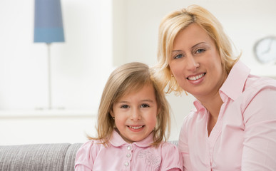 Mother and daugther in pink