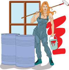 Girl the house painter with a bucket of a paint and the platen