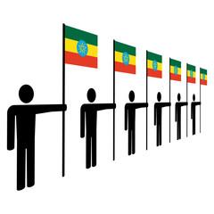 men with Ethiopian flags