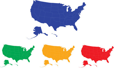 Map of the USA (separeable borders and modifiable color)