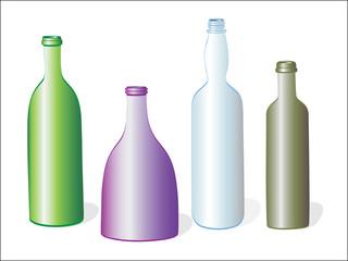 Four bottles on white