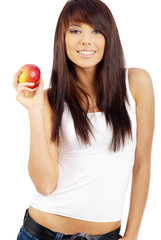 woman with red apple isolated over white background