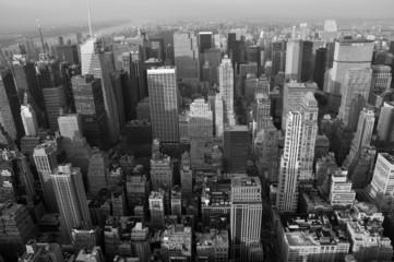 Foto auf AluDibond New York TAXI Skyline New York b/w querformatig
