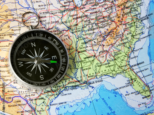 Map Of Usa With Compass compass on map of USA