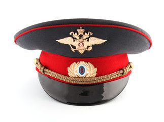 Russian militia (police) hat isolated on white