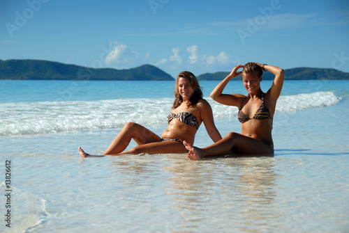 photo of girls sitting in water at beach № 16855